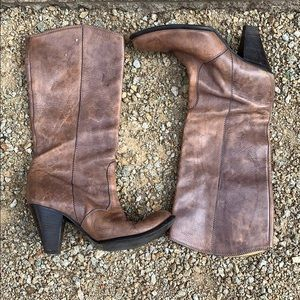 Davos gomma brown leather Italian boots size 9